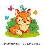 cute fox lying in bushes with... | Shutterstock .eps vector #1012478461