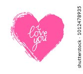 i love you. pink heart.... | Shutterstock .eps vector #1012478935