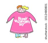 happy valentine's day. girl and ... | Shutterstock .eps vector #1012480801