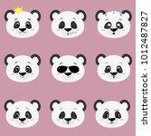 set of cute panda bear face... | Shutterstock . vector #1012487827