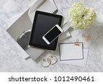 fashion blogger woman desk.... | Shutterstock . vector #1012490461