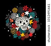 Colorful Print With Skull And...