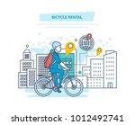 bicycle rental. city bike hire... | Shutterstock .eps vector #1012492741