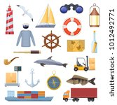 marine set of objects  icons ... | Shutterstock .eps vector #1012492771