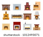 set of classic fireplace made... | Shutterstock .eps vector #1012493071