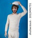 happy guy has an idea on blue... | Shutterstock . vector #1012494751