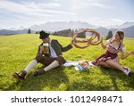funny couple smiling and... | Shutterstock . vector #1012498471