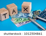wooden cubes tax with canadian... | Shutterstock . vector #1012504861