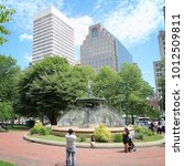 Small photo of PROVIDENCE, USA - JUNE 8, 2013: People visit Burnside Park in Providence. Providence is the capital and most populous city in Rhode Island with 182 thousand citizens.