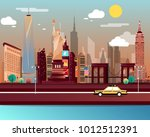 statue of liberty and landmarks ...   Shutterstock .eps vector #1012512391