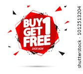 buy 1 get 1 free  sale tag ... | Shutterstock .eps vector #1012513204