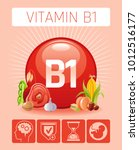 thiamine vitamin b1 food icons. ... | Shutterstock .eps vector #1012516177
