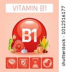 thiamine vitamin b1 food icons. ...   Shutterstock .eps vector #1012516177