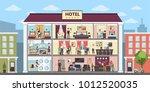 hotel interior set inside... | Shutterstock .eps vector #1012520035