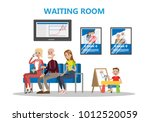 people sitting in waiting room...   Shutterstock .eps vector #1012520059