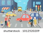city street with people.... | Shutterstock .eps vector #1012520209