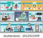 hospital rooms set. doctor's... | Shutterstock .eps vector #1012521049