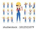 construction worker set. posing ... | Shutterstock .eps vector #1012521079