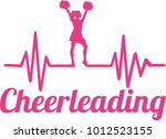 heartbeat pulse line pink with... | Shutterstock .eps vector #1012523155