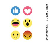 set of emoticon with flat... | Shutterstock .eps vector #1012524805