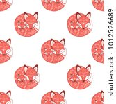 seamless pattern with sleeping... | Shutterstock .eps vector #1012526689