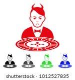 unhappy devil roulette dealer... | Shutterstock .eps vector #1012527835
