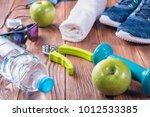 set for sports activities on...   Shutterstock . vector #1012533385