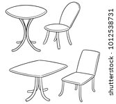 vector set of table and chair | Shutterstock .eps vector #1012538731