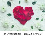 heart shape made of rose with... | Shutterstock . vector #1012547989