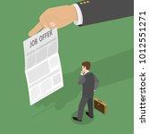 job offer flat isometric vector ... | Shutterstock .eps vector #1012551271