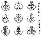 vintage weapon emblems set.... | Shutterstock .eps vector #1012552651