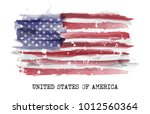 watercolor painting flag of... | Shutterstock .eps vector #1012560364