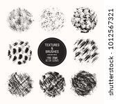 hand drawn textures   brushes.... | Shutterstock .eps vector #1012567321