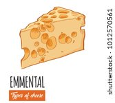 hand drawn colorful emmental...   Shutterstock .eps vector #1012570561