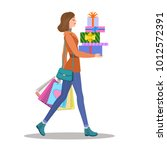 shopping girl. woman with... | Shutterstock . vector #1012572391