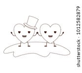 couple heart character kawaii... | Shutterstock .eps vector #1012582879