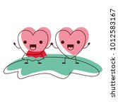 couple heart character kawaii... | Shutterstock .eps vector #1012583167