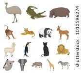 different animals cartoon icons ...   Shutterstock . vector #1012596274