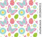 cute easter seamless pattern....   Shutterstock .eps vector #1012604311