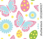 cute easter seamless pattern.... | Shutterstock .eps vector #1012604317