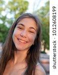 closeup portrait of charming... | Shutterstock . vector #1012608199
