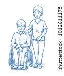 happy smiling female carer or... | Shutterstock .eps vector #1012611175