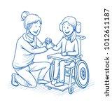 happy smiling female carer ...   Shutterstock .eps vector #1012611187