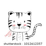 sweet tiger hand drawing... | Shutterstock .eps vector #1012612357