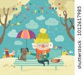 old man with dog under umbrella | Shutterstock .eps vector #1012617985