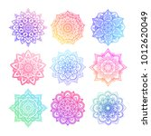 set of round gradient mandala... | Shutterstock .eps vector #1012620049