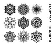 set of round hand drawn mandala ... | Shutterstock .eps vector #1012620055