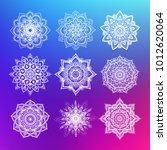set of flower mandala on... | Shutterstock .eps vector #1012620064