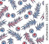 tropical pattern with palm... | Shutterstock .eps vector #1012620091