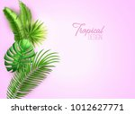 realistic tropical leaves...   Shutterstock .eps vector #1012627771